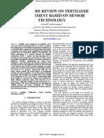 LITERATURE REVIEW ON FERTILIZER MANAGEMENT BASED ON SENSOR TECHNOLOGY