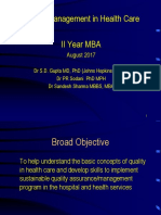 Quality Assurance in Health Care MBA Hosp