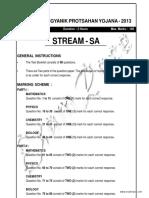 KVPY 2013 Stream SA Solved Paper