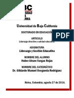 Liderazgo y Gestion Educativa Huber Vargas