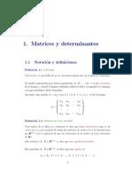 Clases de Matrices, Determinantes y Sistemas de Ecuaciones Lineales 2016