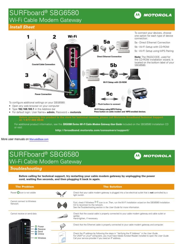 Surfboard Sbg6580 Wi Manual Guide