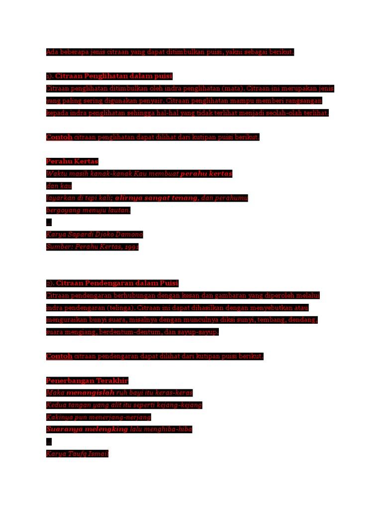 Jenis Citraan Yang Dapat Ditimbulkan Puisi