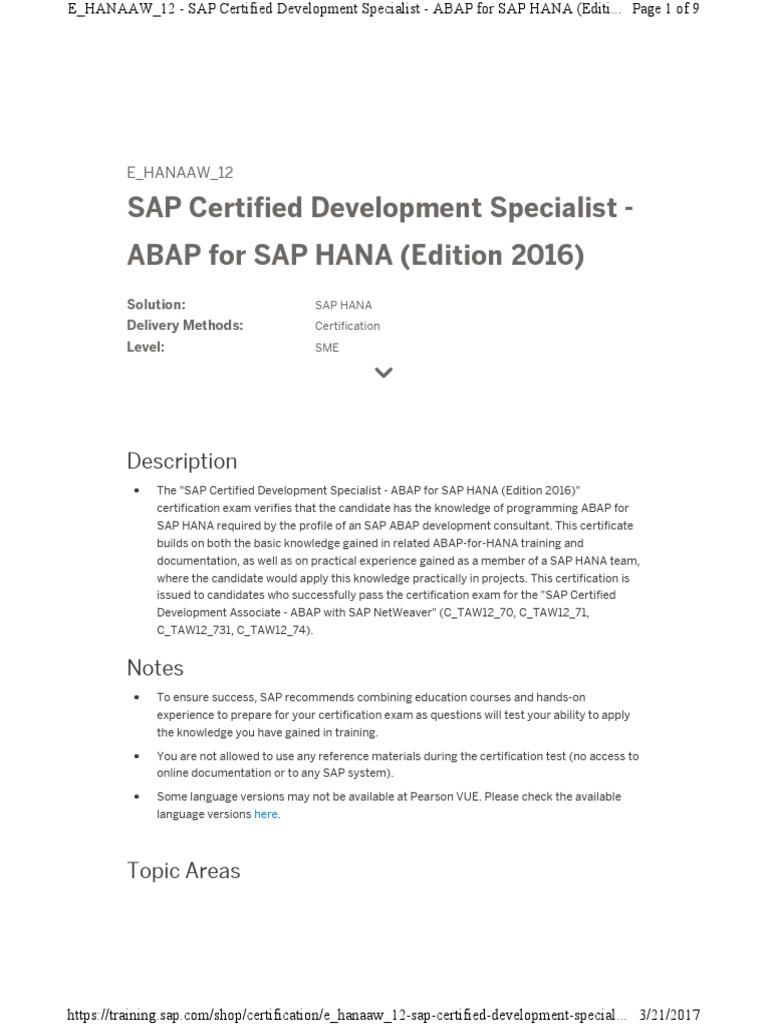 Ehanaaw12 Sap Cer Certification Test Assessment