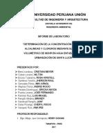 """""""DETERMINACIÓN DE LA CONCENTRACIÓN DE ACIDEZ, ALCALINIDAD Y CLORUROS MEDIANTE EL MÉTODO VOLUMÉTRICO DE MOHR EN AGUA ENTUBADA DE LA URBANIZACIÓN DE SANTA LUCÍA"""