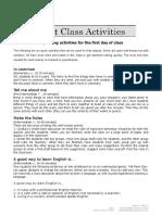 First Class Activities