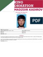 FBI Seeking Information on Mukhammadzoir Kadirov
