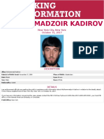 FBI Poster on Mukhammadzoir Kadirov