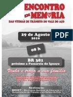 Convite 1º Encontro em Memória das Vítimas do Trânsito no Vale do Aço - MOVET