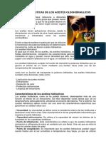 CARACTERISTICAS DE LOS ACEITES OLEOHIDRAULICOS