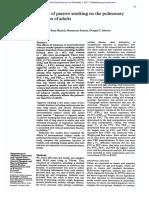 Effects Ofpassive Smoking on the Pulmonary Function Ofadults
