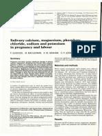 1.8 Salivary Calcium, Magnesium, Phosphate, Chloride, Sodium and Potassium in Pregnancy and Labou