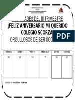 Cronograma de Semana de Actividades Por El Aniversario Del Colegio Scorza 2017