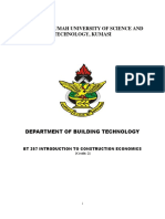BT 257 Introduction to Construction Economics