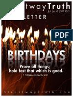 Birthdays ~ StraitwayNewsletter 3 (2012) Elder Doug Becker