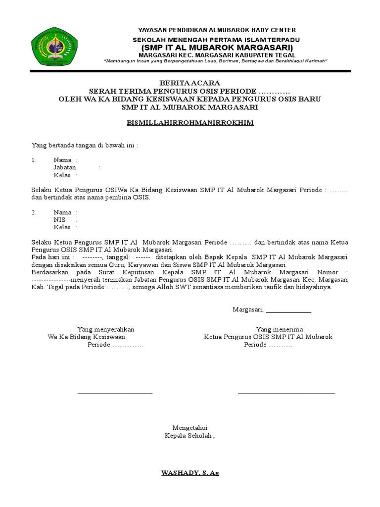 Surat Serah Trima Jabatan Peng Osis