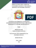 Análisis de Susceptibilidad a Los Peligros Geologicos Por Movientos en Masa