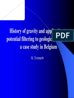 History of Gravity and Application to Potentialfiltering to Geological Structure a Case Study in Belgium