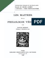Louis Renou Les maitres de la philologie védique