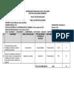 Tabla de Especificaciones Segundo Parcial Estadística I