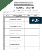 Padron Electoral - Mesa 2