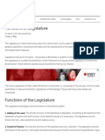 Functions of Legislature - Important India