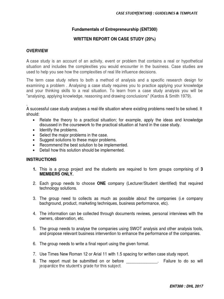 Ent300_case Study_guidelines U0026 Template (1)(1) | Case Study | Psychology U0026  Cognitive Science
