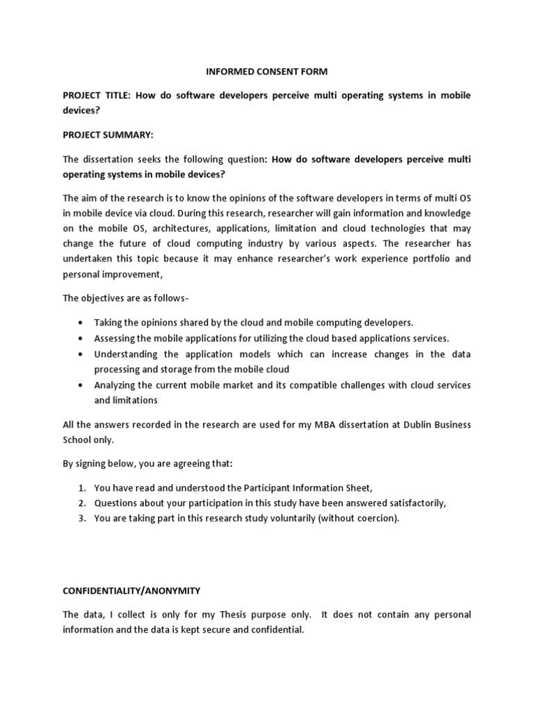 Dissertation letter permission