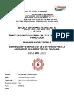 DISTRIBUCIÓN Y DOSIFICACIÓN DE CONTENIDOS PARA LA ASIGNATURA DE ADMINISTRACIÓN CONTABLE