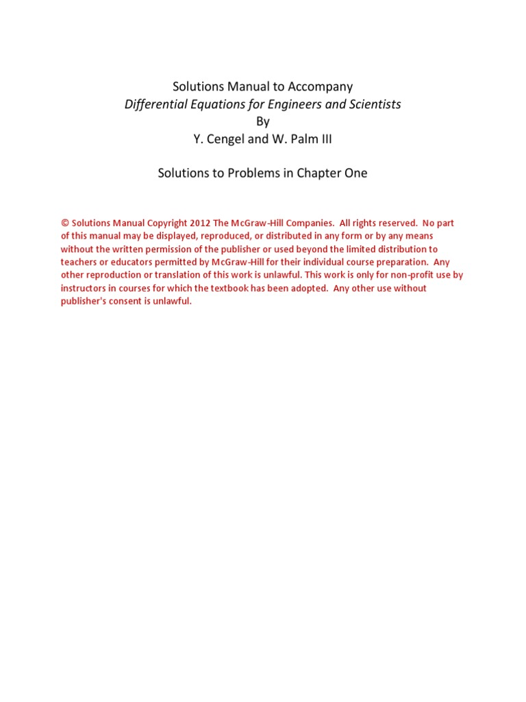 Yunus Cengel Differential Equations for Engineers and Scientists  Ch01solutions   Ordinary Differential Equation   Variable (Mathematics)
