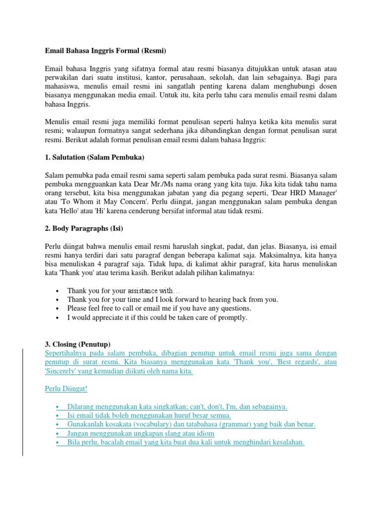 Penulisan Surat Dalam Bahasa Inggris