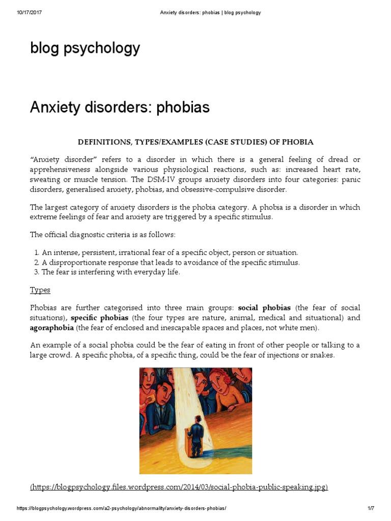 Anxiety Disorders Phobias Blog Psychology Phobia Id
