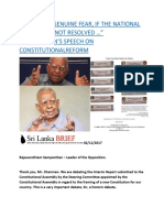 """""""I HAVE THE GENUINE FEAR, IF THE NATIONAL QUESTION IS NOT RESOLVED …"""" SAMPANTHAN'S SPEECH ON CONSTITUTIONALREFORM.docx"""