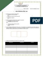 Examen Matematicas Quinto