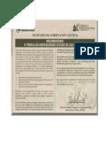 Notificación Secretaria de Gobernacion y Justicia