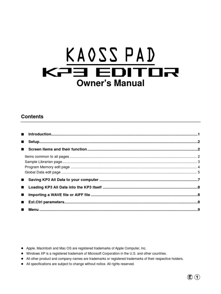 KP3 Editor Manual   Switch   Macintosh