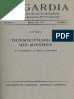 Thermodynamics of Soil Moisture (Edlefsen and Anderson, 1940)