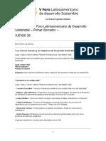 V Foro Latinoamericano Desarrollo Sostenible - Primer Borrador