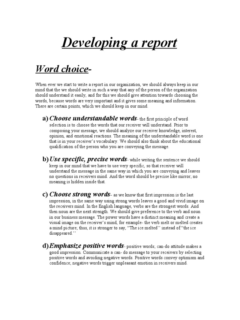 developing a report page layout sentence linguistics