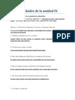 Actividades de La Unidad IV Español