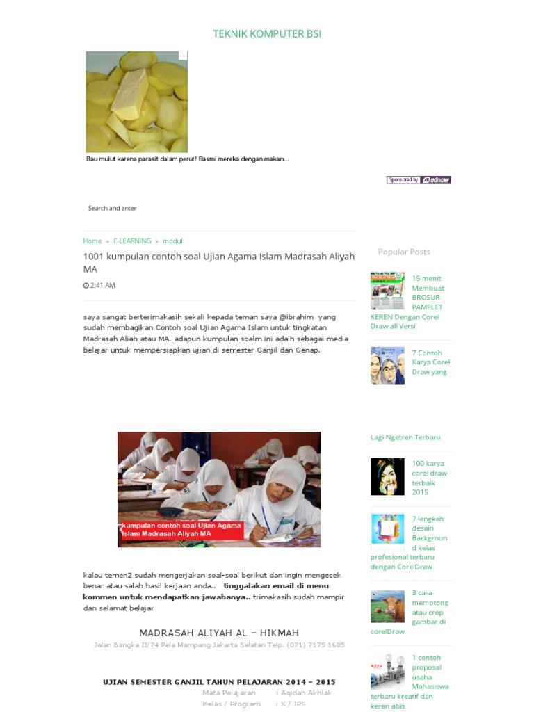 1001 Kumpulan Contoh Soal Ujian Agama Islam Madrasah Aliyah Ma