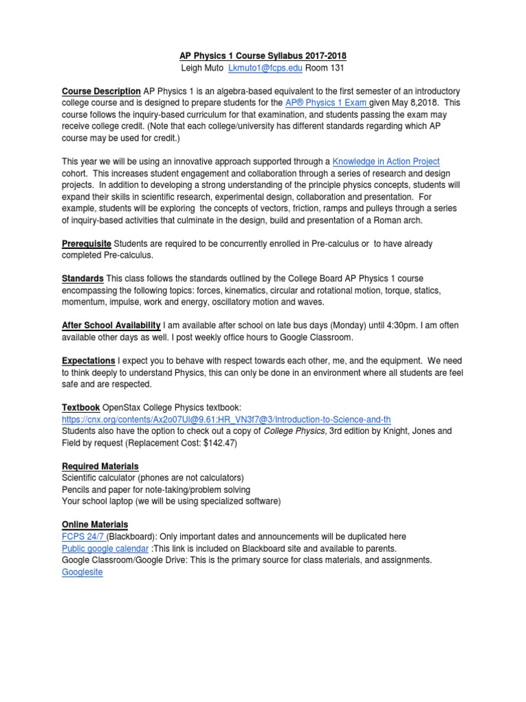 AP Physics1 KIA Syllabus 1718 | Inquiry Based Learning | Textbook