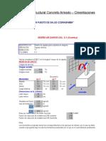 Plantilla Excel Diseño Estructural Concreto Armado de Cimentaciones