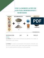 Calculo de La Dosificación de Materiales Para Hormigones y Morteros