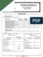 Devoir de Contrôle N°1 - Gestion - 3ème Economie & Gestion (2012-2013) Mr baccari mansour