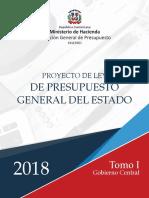 Proyecto de Ley de Presupuesto General del Estado 2018 - Tomo I