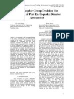 Neutrosophic Group Decision for Modeling of Post Earthquake Disaster Assessment