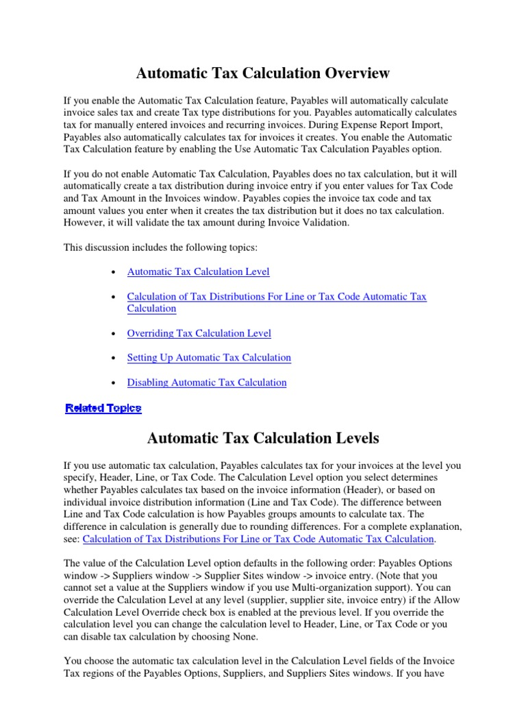 automatic tax calculation rounding invoice