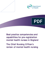 Best Practice and Competencies and Capabilities for Pre-reg Mental Health Nurses in England