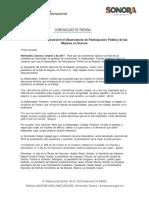 02-10-17 Crea Gobernadora Pavlovich el Observatorio de Participación Política de las Mujeres en Sonora. C-101710